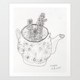 Succulents in teapot Art Print