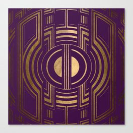 Art Deco Unfinished Love In Purple Canvas Print