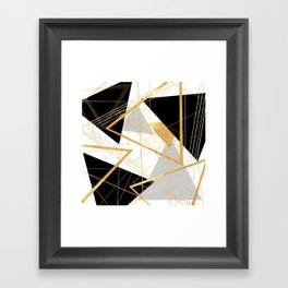 Black and Gold Geometric Framed Art Print