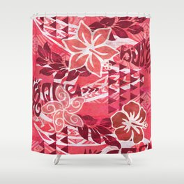 Red Hibiscus Polynesian Tapa Shower Curtain
