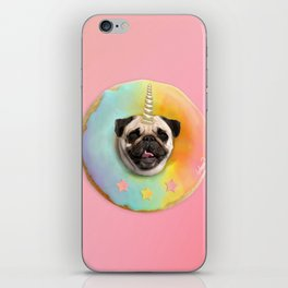Unicorn Pug Pastel Donut iPhone Skin