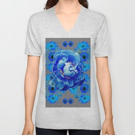 Baby Blue & Charcoal Grey Floral  Abstract Art Unisex V-Neck