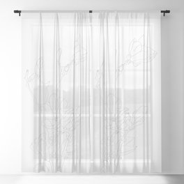 magnolia flowers line drawing Sheer Curtain
