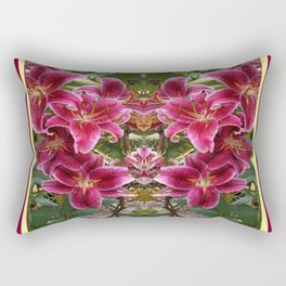 BURGUNDY ASIAN LILIES FLORAL MODERN ART Rectangular Pillow