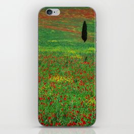 Tuscan landscape with poppies and cypress  iPhone Skin