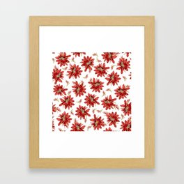 Red Christmas Cactus Flowers Floral Pattern Framed Art Print