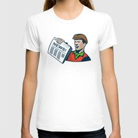 newspaper T-shirts featuring Newsboy Newspaper Delivery Retro by retrovectors