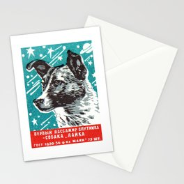 1950s Laika Space Dog Russian Matchbox Label Stationery Cards