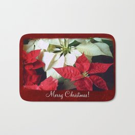 Mixed Color Poinsettias 2 Merry Christmas P5F1 Bath Mat