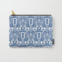 Swedish Folk Art - Blue Carry-All Pouch