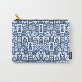 Swedish Folk Art - Blue Carry-All Pouch