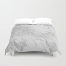 Marble Love Silver Metallic Duvet Cover