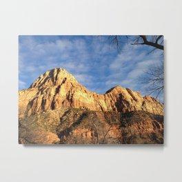 Sun Lit Mountain Metal Print