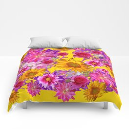 GOLDEN FLORAL TAPESTRY OF ASSORTED PINK  FLOWERS Comforters