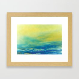 YELLOW & BLUE TOUCHING #1 #abstract #art #society6 Framed Art Print