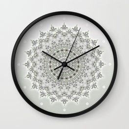 Mandala Flowers Grey Green Wall Clock