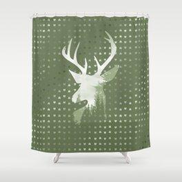 Green Deer Abstract Footprints Landscape Design Shower Curtain