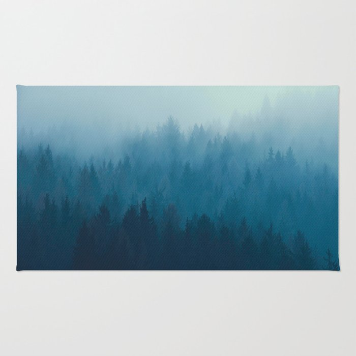 Misty Turquoise Blue Pine Forest Foggy Ombre Monochrome Trees Landscape Rug