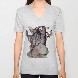 Sugar Coated Sour: Pomegranate (nude curvy pin up with butterflies) Unisex V-Neck