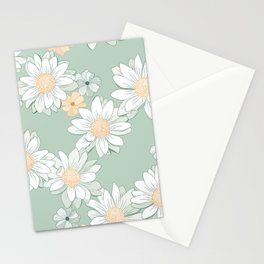Daisies - White and Green Retro Bloom Stationery Cards