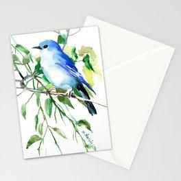 Mountain Bluebird, sky blue green bird artwork Stationery Cards