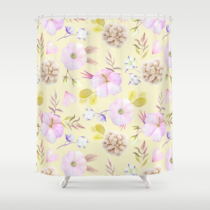 Modern hand painted pink lavender yellow watercolor floral Shower ...