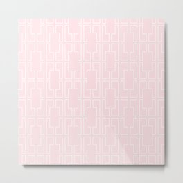Simply Mid-Century White on Flamingo Pink Metal Print