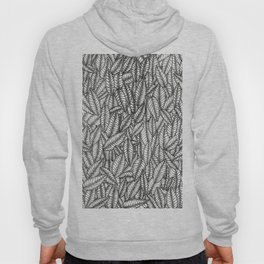 Black and White Botanical Leaf Print with Stick and Poke Style Hoody