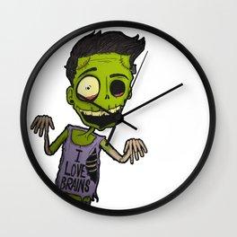 He loves brains Wall Clock
