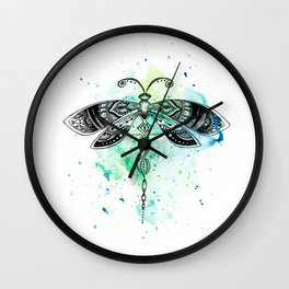 Watercolor dragonfly Wall Clock