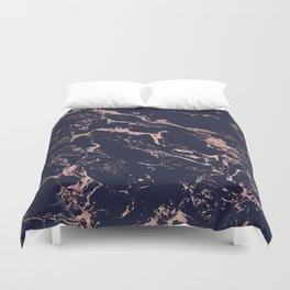 Modern chic navy blue rose gold marble pattern Duvet Cover