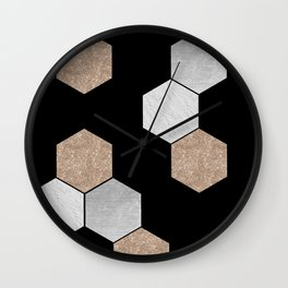 Geometric marble and rose gold on black Wall Clock