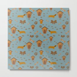 Cute Pattern with dog, dog paws and dog houses Metal Print