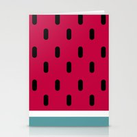 watermelon Stationery Cards featuring Watermelon by According to Panda