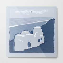 Labyrinth on the Shore, Sketch, Cyanotype Metal Print