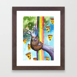 sloth pizza rainbow Framed Art Print