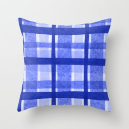 Tissue Paper Plaid - Blue Throw Pillow