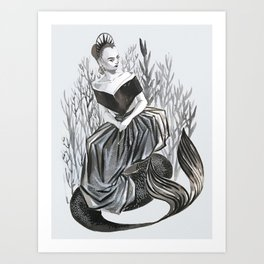 lily collin mermaid Art Print