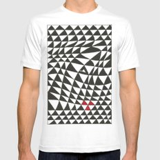 Triangles White Mens Fitted Tee MEDIUM