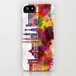 Linz skyline in watercolor background iPhone Case