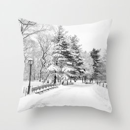 New York City Winter Trees in Snow Throw Pillow