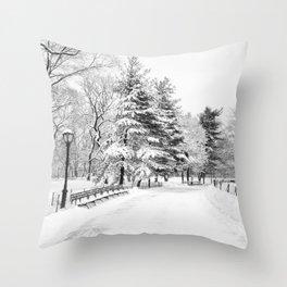 New York City Winter Trees in Snow Throw Pillow