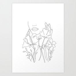 Minimal Line Art Summer Bouquet Art Print