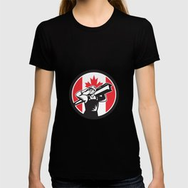 Canadian Construction Worker Canada Flag Icon T-shirt