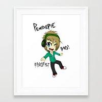 pewdiepie Framed Art Prints featuring PEWDIEPIE! by Mindlesspeanutbutter