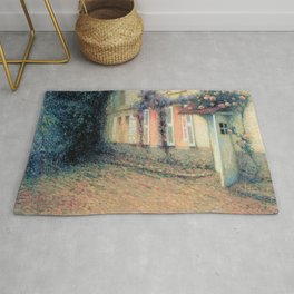 Henri Le Sidaner - Roses and Wisterias on the House (new color editing) Rug