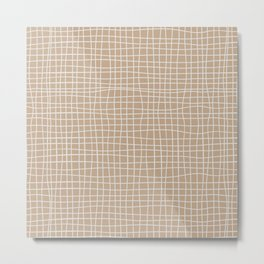 White and Brown Weave Pattern Metal Print