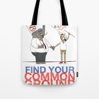 political Tote Bags featuring Find Your Common Ground political poster by Evan Beltran
