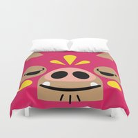 wrestling Duvet Covers featuring Wrestling Academy Bibi by TokyoCandies