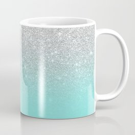 Modern girly faux silver glitter ombre teal ocean color bock Coffee Mug